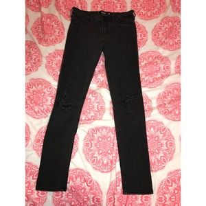 Hollister High-Rise Black Distressed Jeans